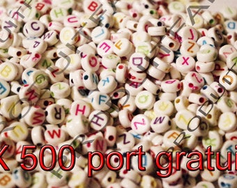 Set of 500 beads round Alphabet 7 mm multicolored necklace jewelry pendant free shipping