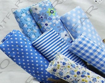 Set of 7 Coupons from cotton fabric 45 x 50 cm Patchwork sewing sky blue tones