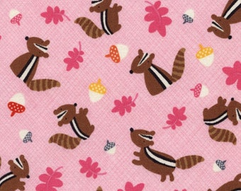 Patchwork fabric animal squirrel multicolored Timeless treasures