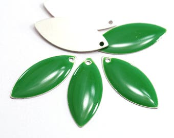 5 sequins shuttle enamelled - 23 x 10 mm - grass green color