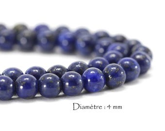 50 beads Lapis lazuli on a wire - diameter: 4 mm - Navy Blue