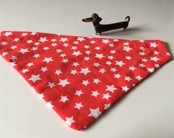 Red & white star animal/dog/cat bandana/neckerchief (small)