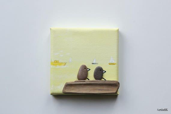 Deco miniature Tableau mer Deco bois flotté galets