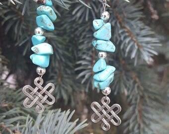Gemstone Earrings Turquoise Earrings Infinity Knot Everyday Jewlery