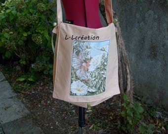 Messenger bag in beige cotton fabric with fairy image