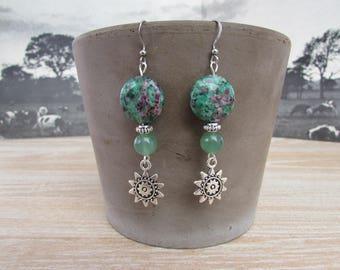 """""""Mayan Sun"""" earrings Green"""