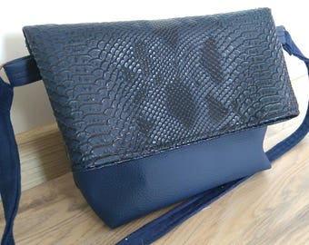faux leather and faux blue dragon shoulder bag