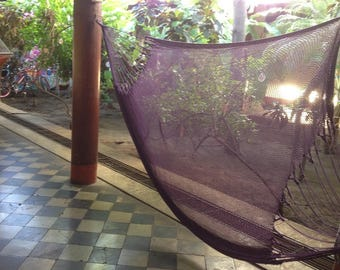 Purple Mayan Hammock, Indoor Hammock, Handmade Double Hammock, Purple Brazilian Hammock, Outdoor Hammock, Cotton Hammock, Hammocks