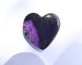 Heart agate dyed black asymmetric purple KITRI 722