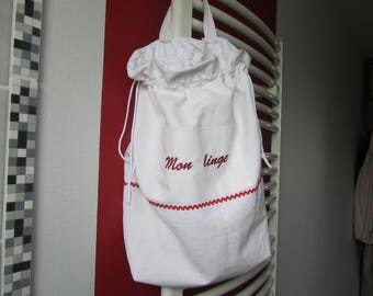"Large laundry bag""machine embroidery in red""My clothes"""