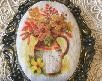 Needle point framed flower jug