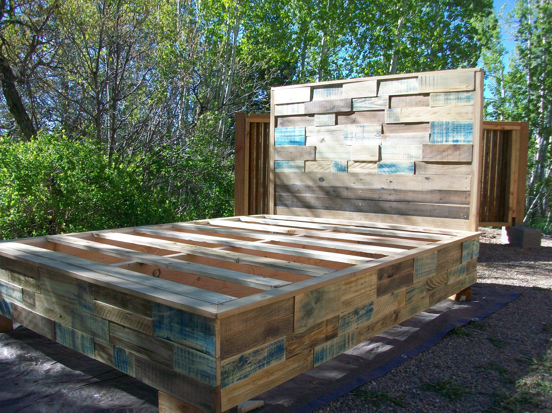Custom Reclaimed Pallet Platform Bed Frame And Headboard