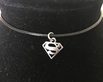 Superman black leather choker necklace