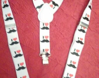 """Shoulder straps elastic blanchse black kids pattern """"Whiskers"""""""