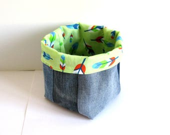 Tidy, basket, storage basket, patchwork jeans blue recycled cotton feathers, wipes, fabric Organizer basket