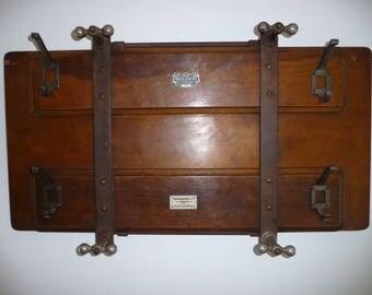 Old Vintage Antique Coat Stand Wooden Hanger Hooks