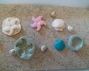Starfish and shell for fimo wepam silicone molds cast resin