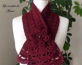 Burgundy, adorned with a flower scarf brooch!