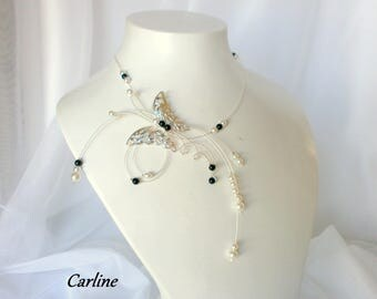 Butterfly beads black white wedding Pearl - Carline necklace-
