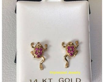 14K Yellow Real Gold Polished Solid Sea Life Them Frog Red CZ Stud Post screwback Earring