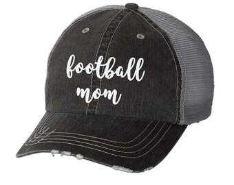 Football Mom Distressed Ladies Baseball Hat | Mesh | Trucker | Mom Life | Friday Night Lights | Sports Mom | Team