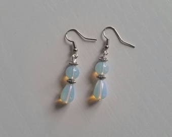 Opal blue (8 mm) Stud Earrings