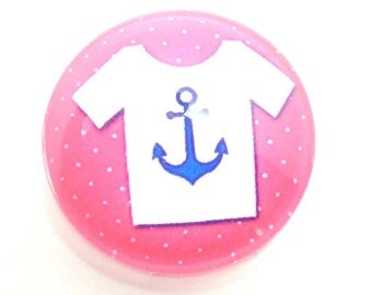 2 Navy anchor Jersey blanc20mm glass cabochon
