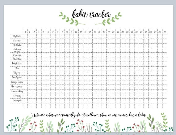 Slobbery image intended for bullet journal habit tracker printable