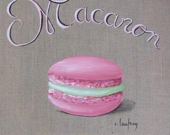Painting Strawberry pistachio macaron, painting on linen