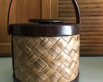 Vintage Wicker and Vinyl Ice Bucket