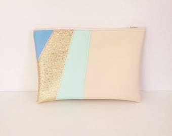 Clutch faux leather multicolor beige, blue, green and gold glitter