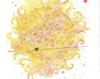 Orange ink on paper illustration