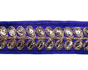 Ribbon stripe blue Lurex Gold 2.5 cm x 1 m