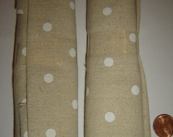 WHITE POLKA DOTS LINEN PATCHWORK FABRIC ¤ 30 X 60 CM