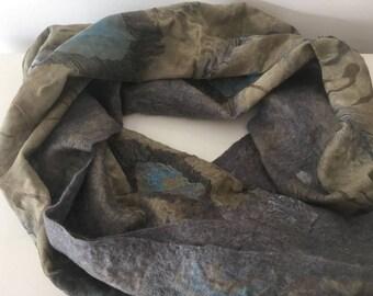 Grey felt scarf with a fabric pattern