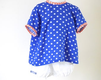 Blouse shirt girl was short-sleeved blue with white dots, bright colors 2 years