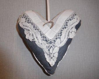 heart pendant gray embroidery old door cushion