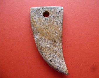 large Jasper pendant horn or tooth for creating jewelry, crafts, decoration, ethnic jewelry, manual art
