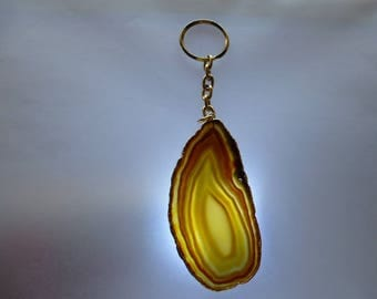 key ring in gold on gold edge 14 cm Topaz ombre agate stone