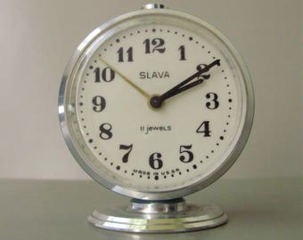 Vintage, Russian Slava Table/Alarm Clock,working condition