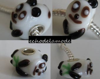 1 'PANDA' 3D donut way Murano lampwork glass bead