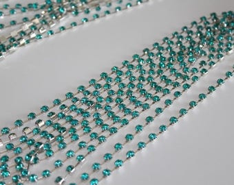 rhinestone turquoise 4 mm X 4 mm silver chain 30 cm