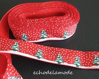 Grosgrain Ribbon Christmas trees snow red width 25 mm the meter