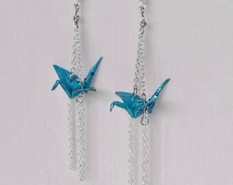 Earrings dangling blue origami cranes