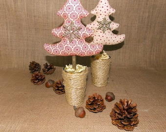 to order. for the Christmas table Deco, duo of matching fabric Christmas trees