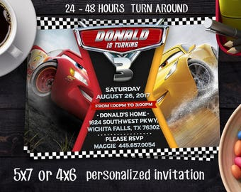 Cars 3 Birthday invitation, Cars Party Invite, Lightning Mcqueen Printables, New Cars Movie, Printable Invitations, Cars Race Invites, Cars