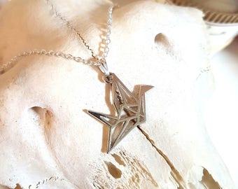 Origami bird charm pendant