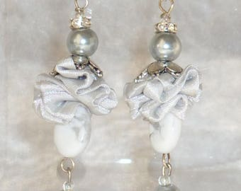 Pearl Grey taffeta wedding earrings