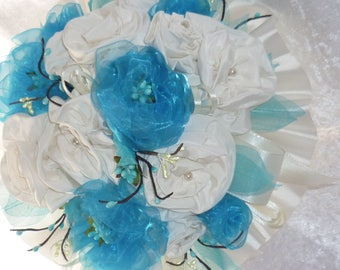 art for turquoise and ivory organza bridal bouquet made in the flame