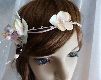 bridal set necklace bracelet headband ivory pale pink